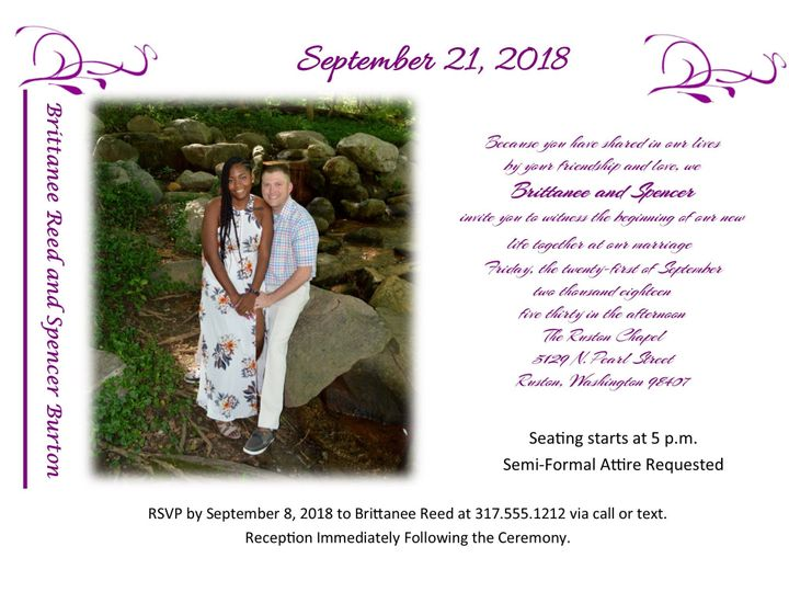 Tmx 1530999884 177bc8cfbb34a436 1530999883 1829a6b9c6eea546 1530999881684 2 Brittanee And Spen Indianapolis, IN wedding invitation