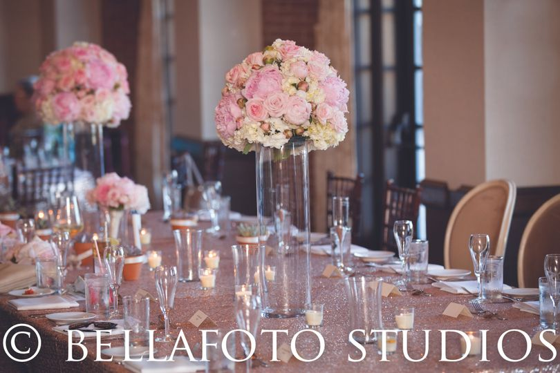 Wedding table with floral centerpiece