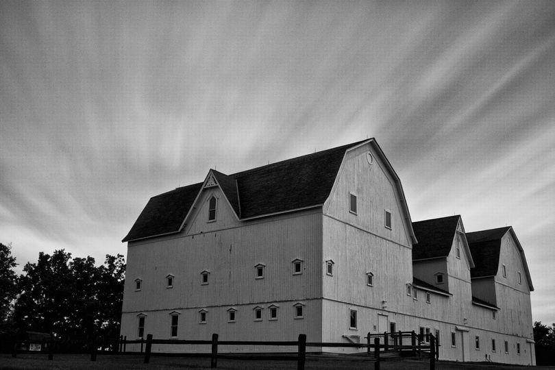 black and white image ellis barn