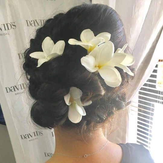 Bridal updo, messy braid