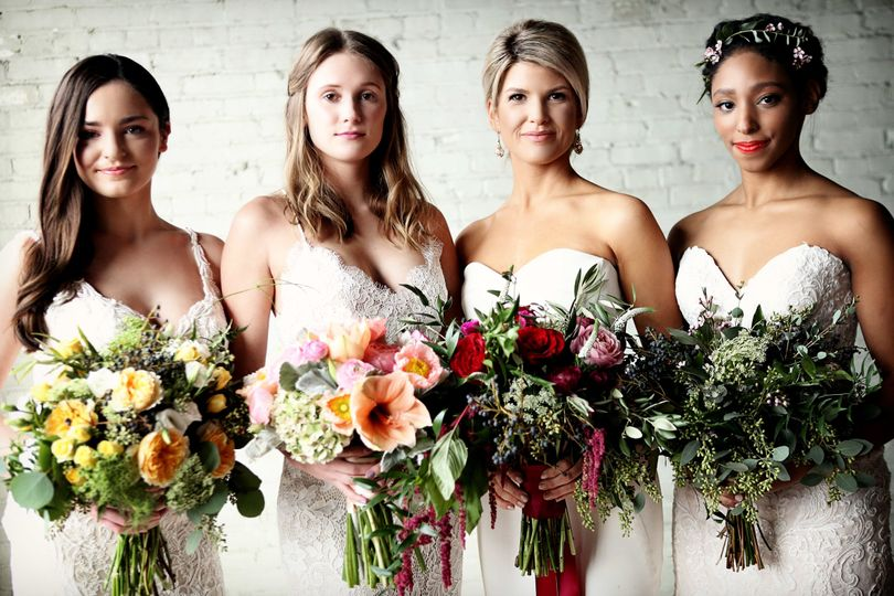 Brides with their bouquets