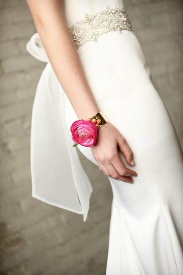 Pink flower on the wrist