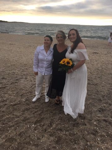 Brides with the officiant