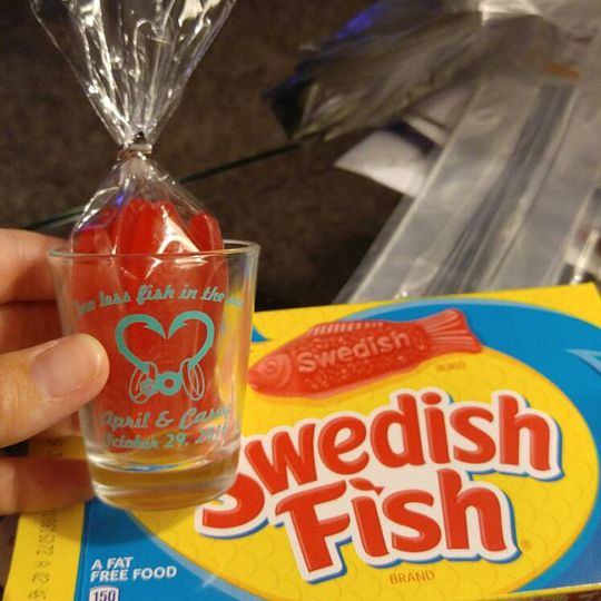 Shot glass with swedish fish