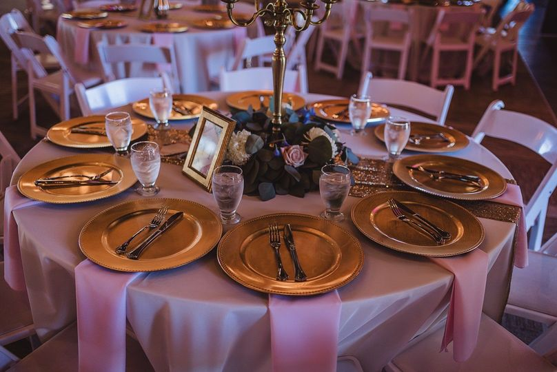 Table setting and gold plates