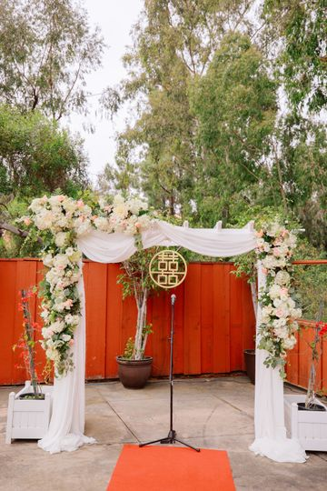 Floral arch on the California patio