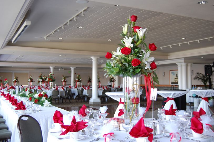 Tall Red and White Centerpiece