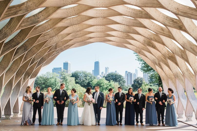 Wedding party posing in Chicago