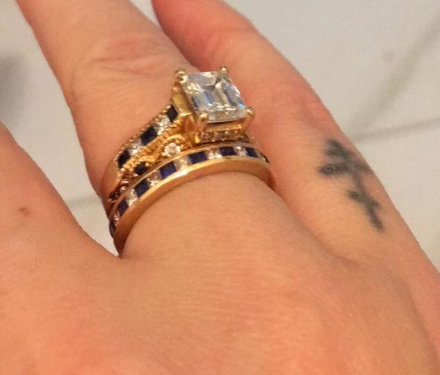 Emerald Cut Yellow Gold Vintage Diamond Engagement Ring with Blue Sapphire and Princess cut matching...