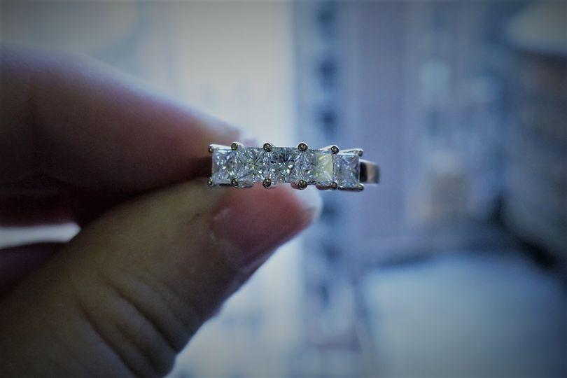 1 carat Platinum 5 stone princess cut basket set women wedding Band   SKU - FD121358 Price - $3144