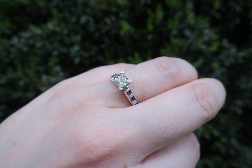 Princess cut Channel Set Diamond and Purple Topaz Engagement Ring   SKU - FDENS877