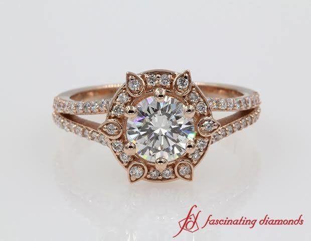 1 Carat Round Diamond Halo Split Shank Rose Gold Engagement Ring.   SKU - FDENR9520...