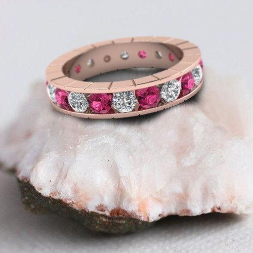 Rose Gold Channel Set Diamond and Sapphire Vintage Style Womens Eternity Band