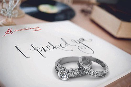 Solitaire Engraved Ring and Wedding Band