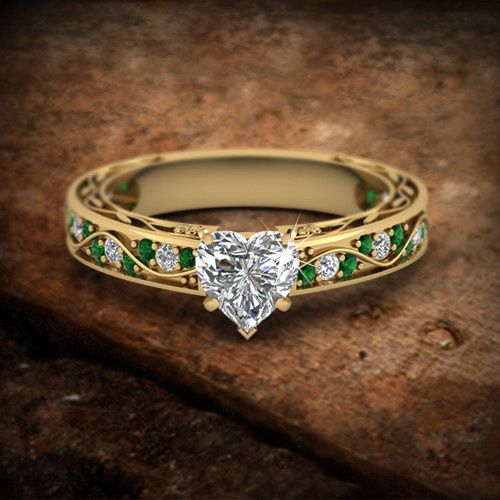 Heart Shaped Yellow Gold Vintage Style Engagement Ring