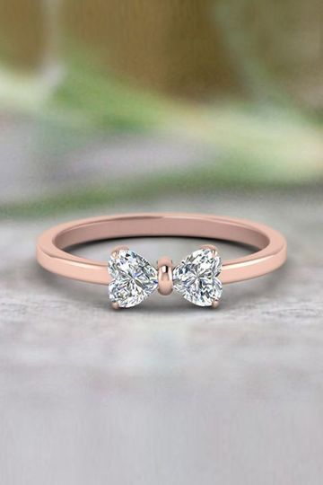Beautiful  Rose Gold Modern Heart Shape Bow Style 2 Stone Promise Ring  SKU - FD8238
