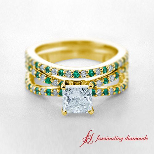Princess cut Split Shank Yellow Gold Diamond and Green Emeralds Engagement Ring with matching Band...