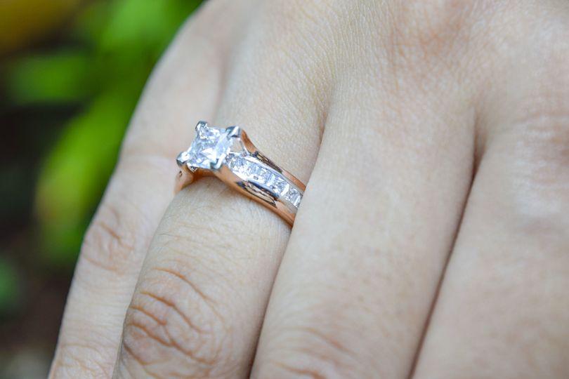 Channel Set rose gold ring