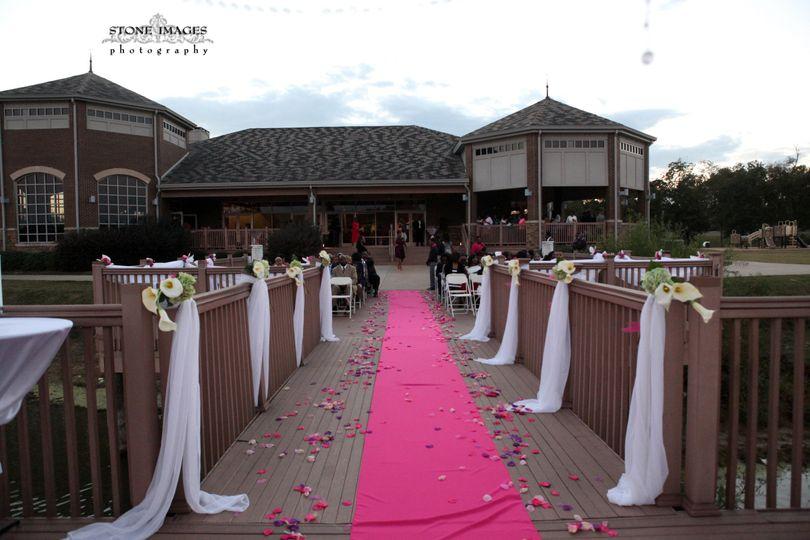 Pink wedding aisle