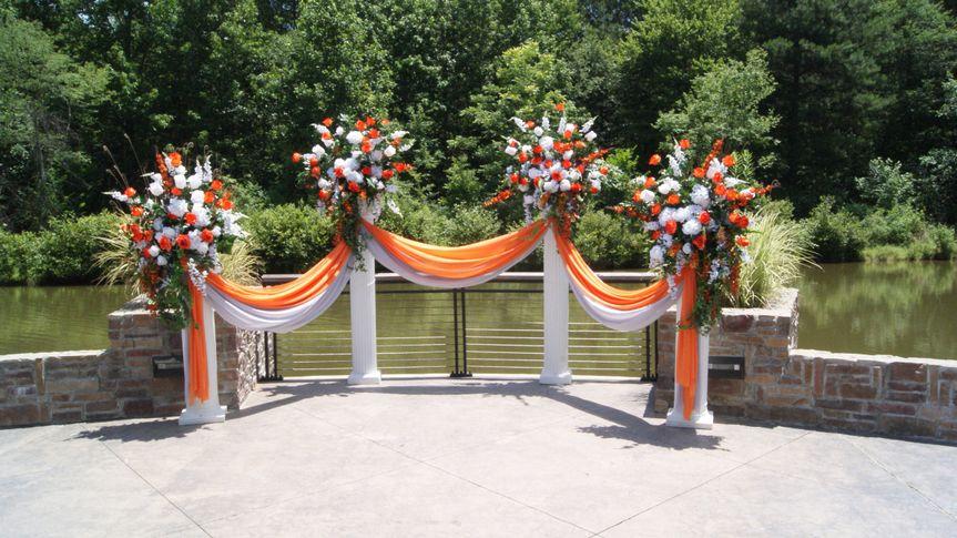 Orange and white drapes