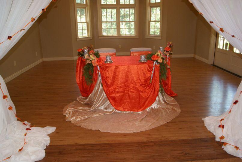 Orange round table