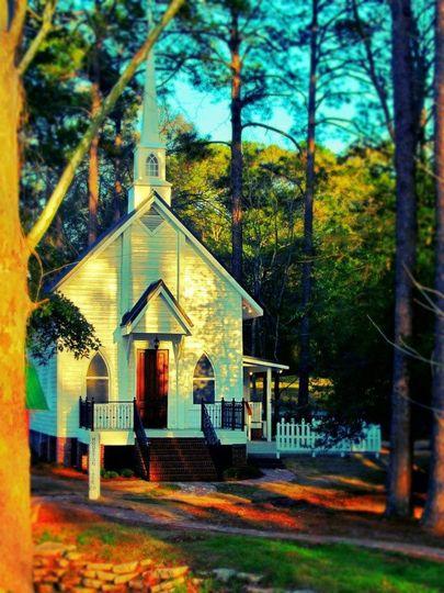 Light shining on the chapel