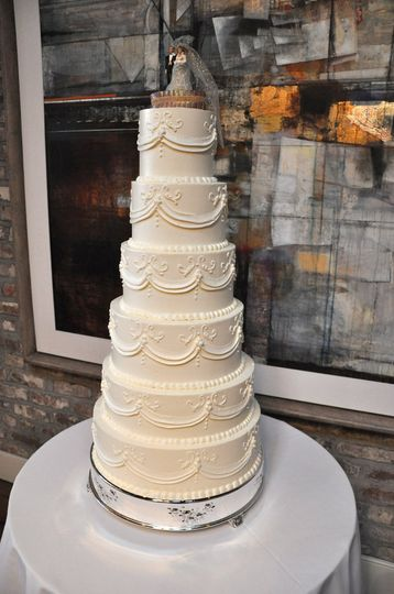 Six tier white cake