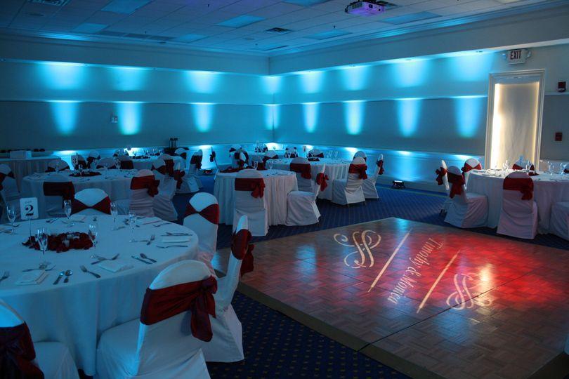 Monogram lighting on the dance floor