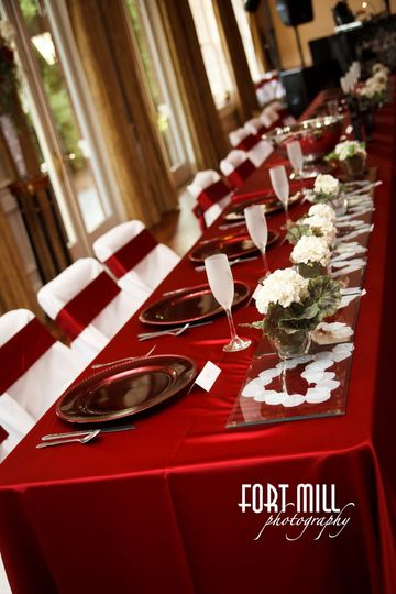 Red long tables