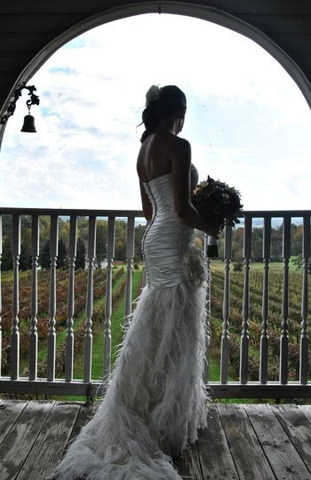 Bride by the balcony