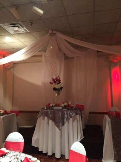 Table setup with bouquet centerpiece