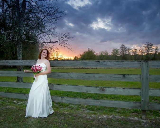 Bride by the fences