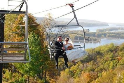 Couple riding on a cable car