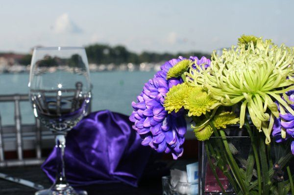 Roostertail Detroit, Michigan wedding.  Colors of kiwi green and purple.