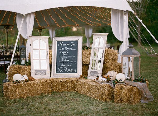 country wedding with tent hay