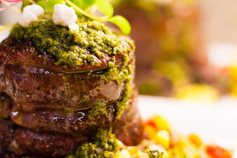 Steak with lemon basil pesto.