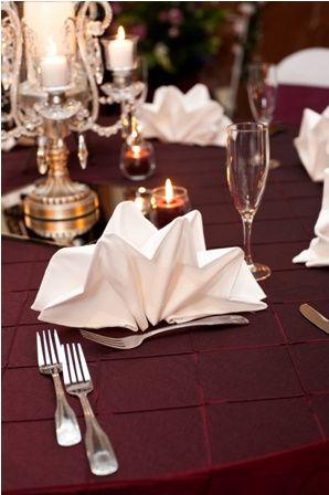 Maroon table cloth