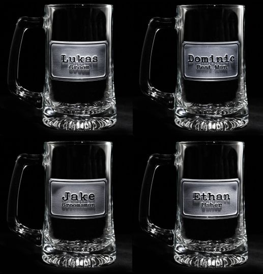 Groomsman gift ideas, bridesmaid gift ideas such as best man and maid of honor engraved beer mugs.