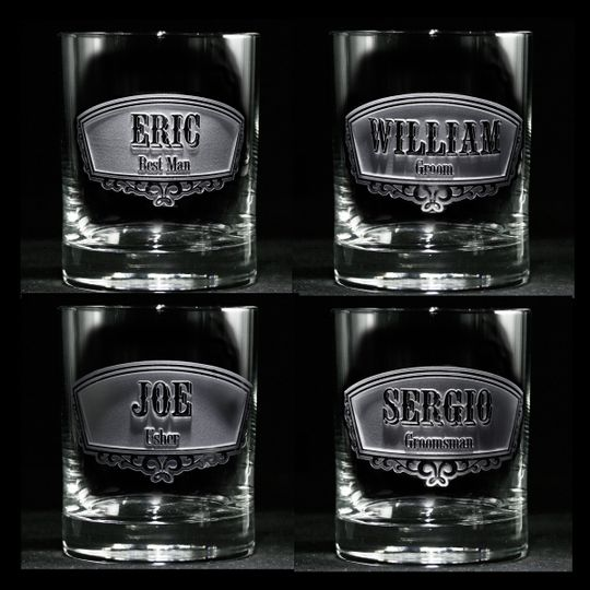 Groomsmen gift ideas such as best man and groomsman engraved whiskey scotch glasses.