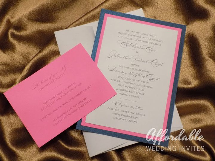 Premium Layered Invitations in Pink and Navy