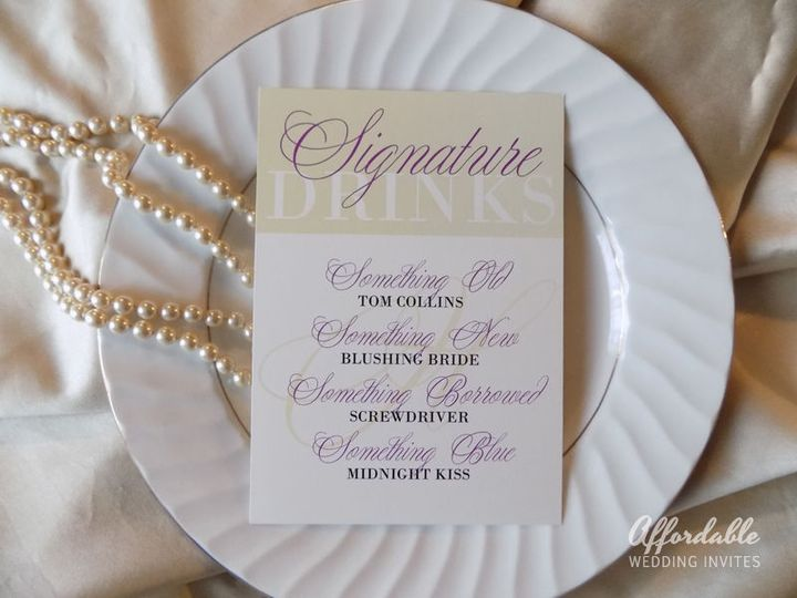 Custom Table Cards featuring signature drinks and menus