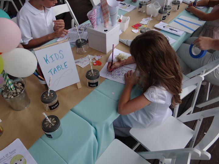 Kids doing wedding program cards