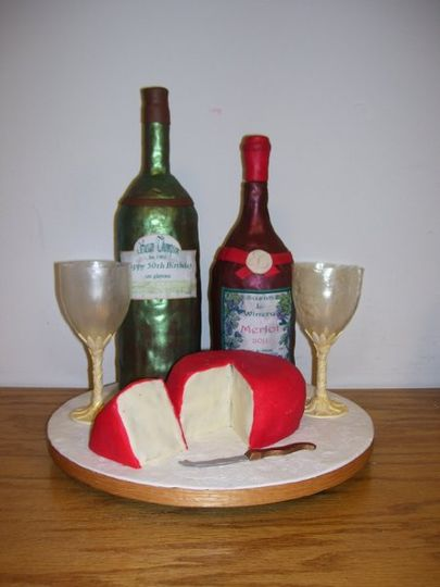 3D wine and cheese cake.