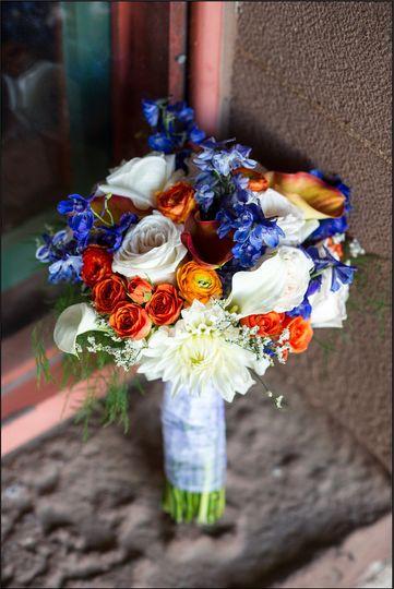 orange and blue bouquet
