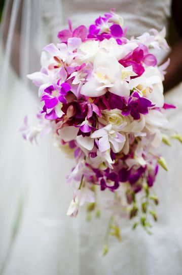 Dramatic cascading bouquet of orchids