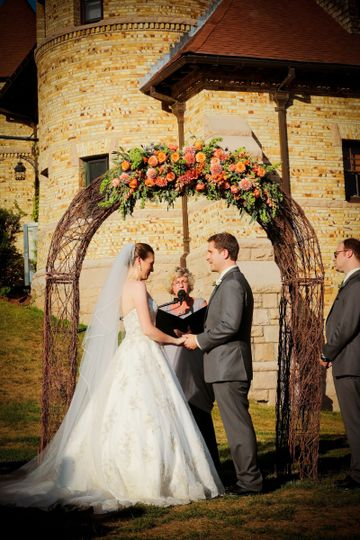 Grapevine arbor for outdoor ceremony