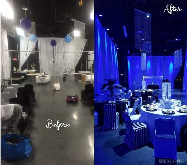before and after blue uplighting
