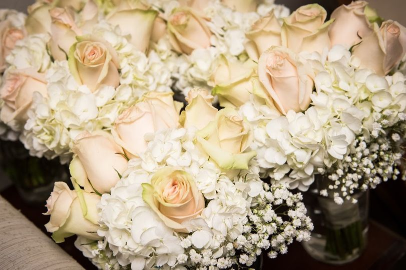 White flowers and roses