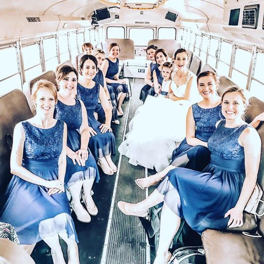 Bridesmaid's wedding party bus