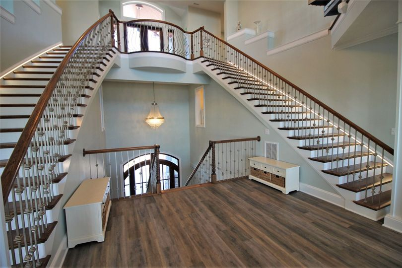 Gorgeous curved double stair case